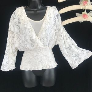 Sunny Leigh Cream Color Lace Blouse Top